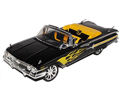Motormax Chevrolet Chevy Impala Cabrio Schwarz mit Flammen Custom Version 1/18 Modell Auto - Modell Impala Chevy Auto