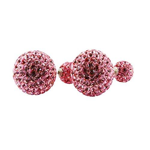 KASKOTE-Boucles d'oreilles Argent et Cristal de Strass. Misse. modèle coloris disponible en 12 14 mm Diamètre boule à pression fermeture Grand rose