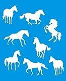 21cm x 17cm Flexibel Kunststoff Universal Schablone - Wand Airbrush Möbel Textil Decor Dekorative Muster Design Kunst Handwerk Zeichenschablone Wandschablone - Pferd Tiere