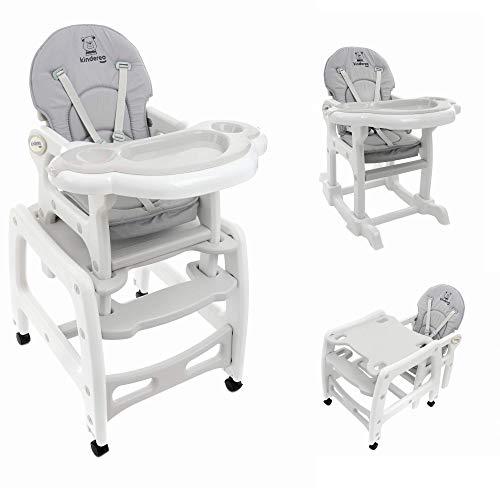 KINDEREO 5 in1 Multi Kinderhochstuhl Stuhl Kombihochstuhl Tisch Baby Hochstuhl Schaukel (Grau) - Hochstuhl Tisch