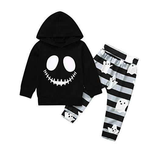 Smony Kleinkind Trainingsanzüge Kids Outfit Kleidung Set Baby Halloween Cartoon Cute Smiley Gesicht Bedruckt Hoodie Sweatshirt Tops mit Hose Hose für 0-2 Jahre Jungen Mädchen Gr. 70 cm, Schwarz (Halloween-31. Oktober 2019)