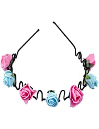 Flower Zigzag Hair Band / Hairband / Hair Band For Baby Girl (Pink / Blue)