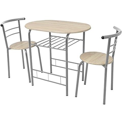 Festnight Bar-Set Frühstückstisch mit 2 Barstühle Bartisch Stehtisch aus MDF Eisenrahmen Essgruppe für Küche (Kitchen Inseln Frühstück Bar)