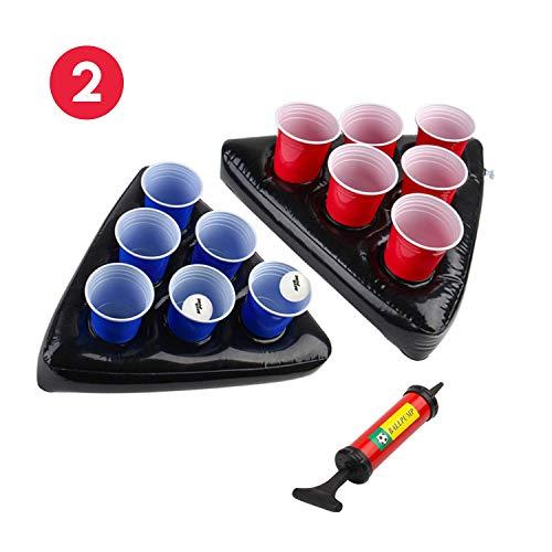 Uhomely Aufblasbare Bier Pong Hüte, 2 Pack Schwimmbecken Bier Pong Tische mit 1 Pumpe, 2 Bälle und 12 Tassen (6Red, 6Blue), Bier Pong Spiel Set