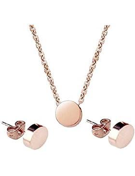 ladies14K rosé vergoldet Titan Stahl Statuette Bohne Halskette + Ohrringe Set, für Frauen, Mädchen, (s1379)