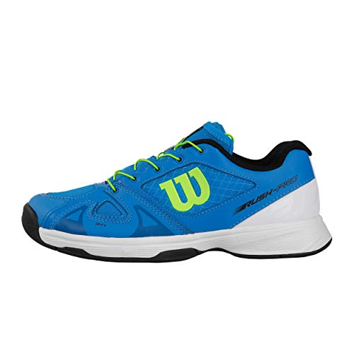 Wilson RUSH PRO JR QL, Scarpe da Tennis Unisex-Bambini, Blu (Brilliant Blue/White/Green Gecko), 30 EU