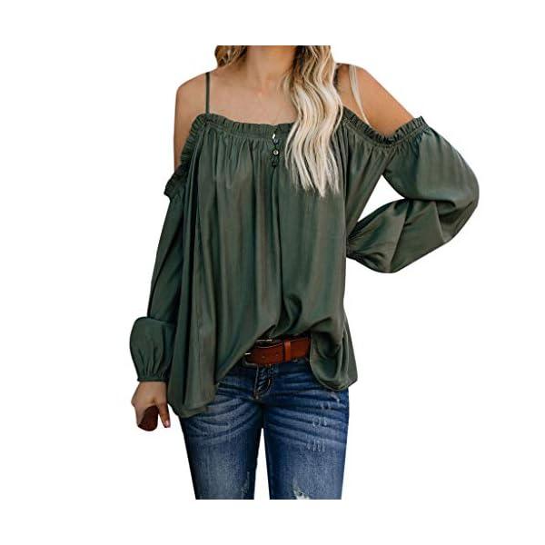 ESAILQ Frauen Beiläufig Schulterfrei Solide Long Sleeve Damen Lose Tops Tshirt Bluse