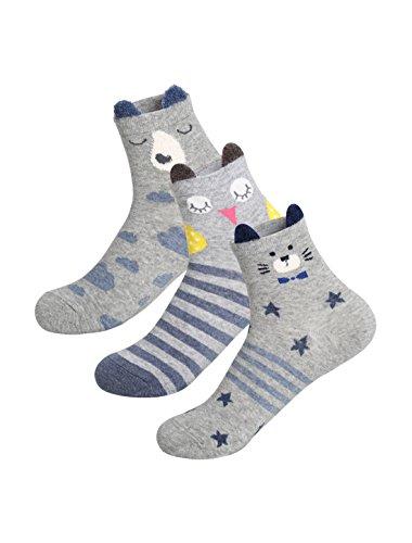 sourcingmap® 3 Paar Damen Tiere Muster Druck Kontrast Farbe Crew Socken Gr. 9-11 (Crew-weiße 11 Socken)