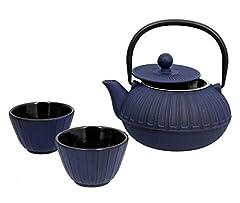 Idea Regalo - TheKitchenette 7321630 Sapporo Teiera + Tazze in ghisa, Colore: Blu, capienza: 0,6 L