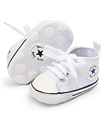 Babycute - Zapatillas de lona para bebé con suela suave y cordones, informales, para niños y niñas, primeros pasos