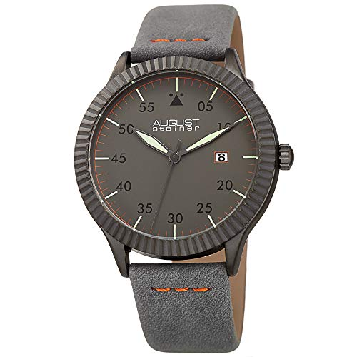 August Steiner Grooved Bezel Men's Watch - Slim Case with High Polished Black IP Case Pilot Style Dial - Stitched Genuine Leather Strap - Classic Triangle At The 12 O'clock Position - AS8272 (Grey)