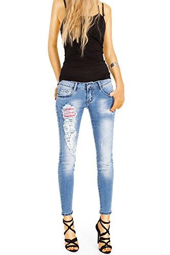 Bestyledberlin Damen Röhrenjeans knöchellang, Stretch Hüftjeans, Skinny Fit Jeans Super Destroyed Style j102kw Ripped Blue