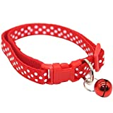 quanjucheer Halsband, für Hunde und Katzen, mit Glöckchen, gepunktet, verstellbar