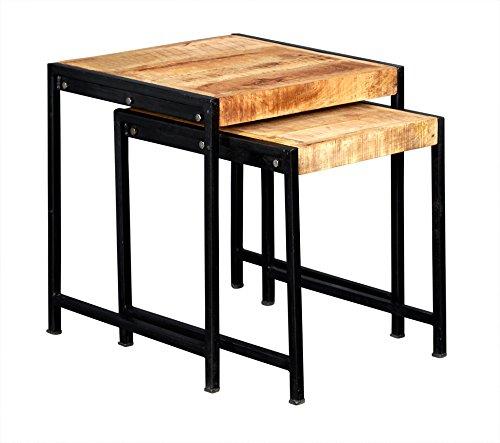 Asia Dragon Cosmo Tables gigognes - Bois et Métal - Meubles de Style Industriel