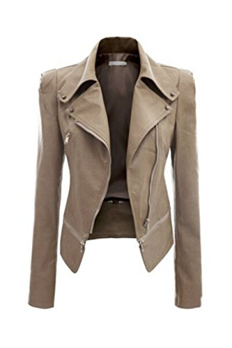 Frauen So Lange Ärmel Pu - Leder Motorrad - Biker - Jacke Auf Outcoats Plus Size - Blazer Khaki S (Khaki Plus)