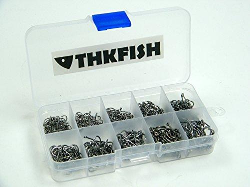 500 Stück klein THKFISH Größe schwarz Süßwasser- fish Hook einstellen Angelhaken Box Set