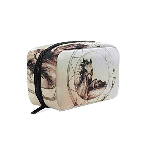 Bolsa de maquillaje atrapasueños caballo bolsa de cosméticos embrague