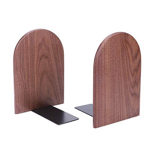 Sujetalibros de madera de nogal natural simple para libros, estilo japonés, estantería decorativa estable, resistente, revistero para oficina, casa o dormitorio