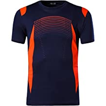Jeansian Hombres Deportes Wicking Quick Dry Respirable Corriente Training tee T-Shirt Sport Tops LSL189