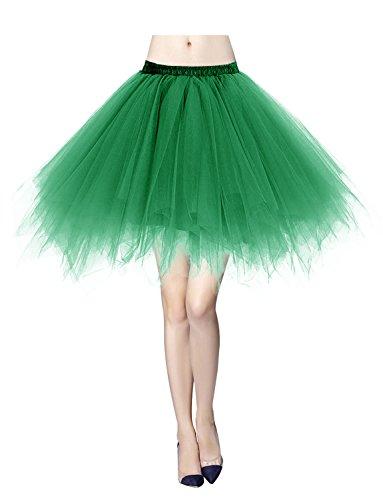 Tüllrock Reifrock 50er Rockabilly Kurz Ballet Tanz Rock Green L (Tutu Tanz Kostüme)