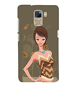 Cute Girl Fashion 3D Hard Polycarbonate Designer Back Case Cover for Huawei Honor 7