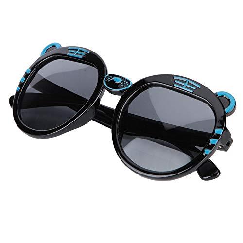 Kleinkind Anti-UV Sonnenbrille Weiche Silica Gel Sonnenbrille für Kinder Cartoon Gemusterte Babybrille(Schwarz)
