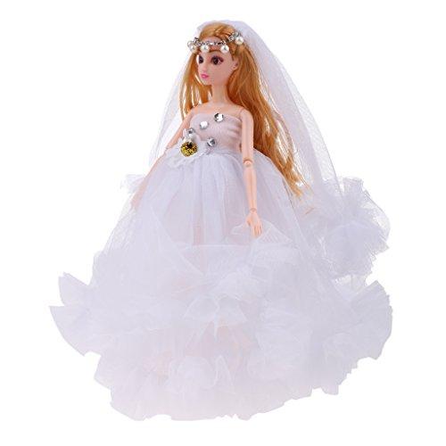 MagiDeal 30cm Flexibles Vinylkörper Modepuppe in Schönes Hochzeitskleid mit Schleier Kinder Spielzeug - Weiß