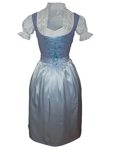 Preisvergleich Produktbild Di10 langes Dirndl, 3 teiliges Trachtenkleid blau weiß kariert, Kleid mit Bluse und Schürze, Gr. 36-50