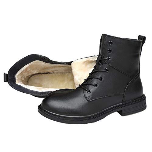 cy Casual Martin Stiefel Für Männer Echtes Leder Ankle Boots Outdoor Wandern Ski Paar Wüste Armee Stiefel Knight Boots Arbeitsprogramm Schuhe,Black(Velvet)-35 -