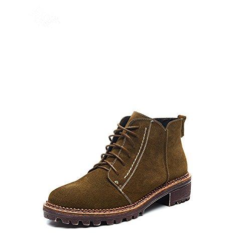Autunno e Inverno stivali versione coreana di retrò stivali di Martin British Wind wild testa rotonda aumentata Snow Boots Khaki