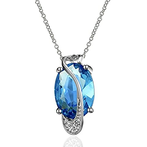 18K Plaqué Or Colliers, Femmes Mode Pendentif Colliers Ovale Tortue Bleu Epinki