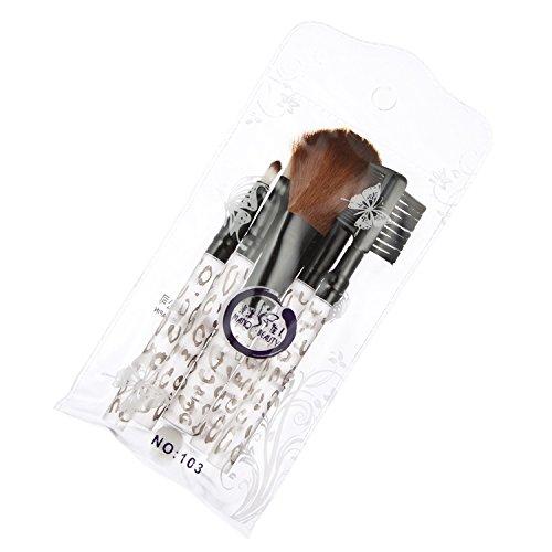 Davidsonne Lot de 5 outil de maquillage Brosse Kit de voyage Leopard Blanc