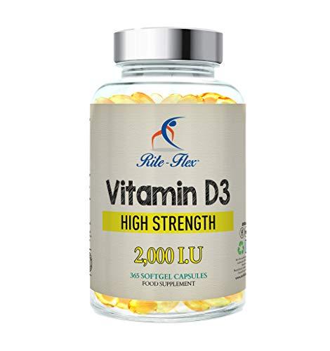Rite-Flex Vitamin D3 2000IU (50?g) per supporto osseo - sistema congiunto e immunitario | Non-GMO e gluten-free da 2X a 2.000 UI - 365 softgel facili da inghiottire