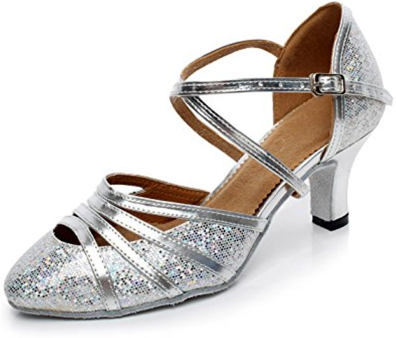 JSHOE Zapatos De Danza Latina Para Mujer De Tacón Cerrado De Tacón Alto EN Cuero De PU Brillo Salsa Tango,Silver-heeled5cm-UK5.5...