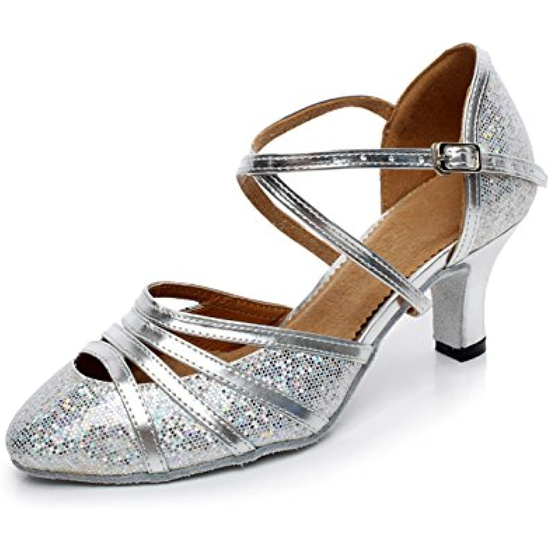 JSHOE Wo  Fermé Toe Talon Haut PU Cuir Ballroom Paillettes Salsa Tango Ballroom Cuir Chaussures de Danse Latine,Silver-heeled5cm-UK4.5... - B078W726YN - 738cfc