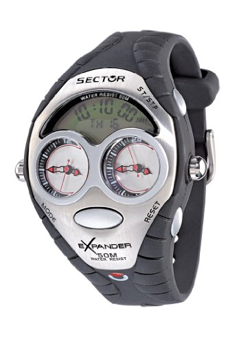 Sector Sports Watch R3251172095 In Collection Street with Digital Display, Green-Silver Dial and Black Strap