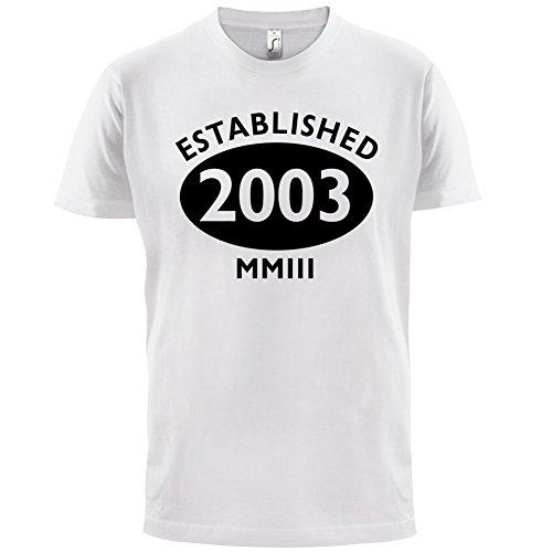 Gegründet 2003 Römische Ziffern - 14 Geburtstag - Herren T-Shirt - 13 Farben Weiß