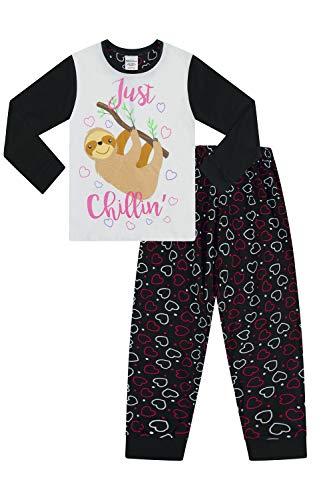 The PyjamaFactory Mädchen Schlafanzug Faultier Chillin, lang, Baumwolle, Gr. 9-16 Jahre Gr. 11-12 Jahre, Schwarz
