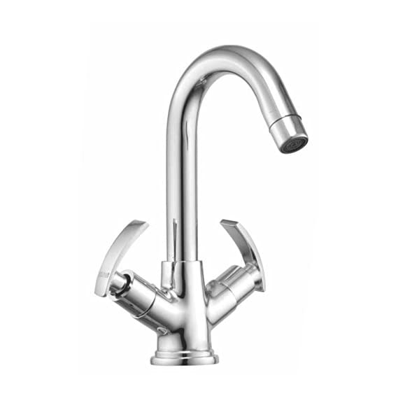 Drizzle Basin Mixer Soft Brass Chrome Plated/Centre Hole Basin Mixer/Pillar Cock Tap/Water Mixer Tap For Wash Basin/Bathroom Tap/Quarter Turn Foam Flow Tap
