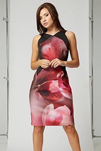 Roman Originals Women's Floral Print Scuba Dress – Ladies Dresses – Magenta – Size 18