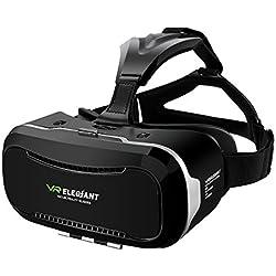 """3D VR Headset, ELEGIANT Universal 3D VR Brille Einstellbar virtuelle Realität Box Brille Video Movie Game Brille Virtual 3D Reality Glasses VR World Head Mounted für 3D Filme und Spiele für 4.7""""-6"""" Android IOS Iphone Samsung Galaxy Mega 2 / Galaxy Note 5 4 3 S6 S6 S8 Edge iPhone 6 6 Plus 7 7 Plus/ LG G3 / SONY Experia T2 Ultra / Xperia Z3 + / MOTO Nexus 6 / HTC One Max / Wunsch 816 / Die M9 / ASUS Zenfone 2 usw"""