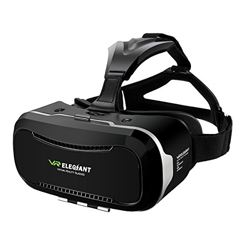 "3D VR Headset, ELEGIANT Universal 3D VR Brille Einstellbar virtuelle Realität Box Brille Video Movie Game Brille Virtual 3D Reality Glasses VR World Head Mounted für 3D Filme und Spiele für 4.7""-6"" Android IOS Iphone Samsung Galaxy Mega 2 / Galaxy Note 5 4 3 S6 S6 S8 Edge iPhone 8 6 6 Plus 7 7 Plus/ LG G3 / SONY Experia T2 Ultra / Xperia Z3 + / MOTO Nexus 6 / HTC One Max / Wunsch 816 / Die M9 / ASUS Zenfone 2 usw"