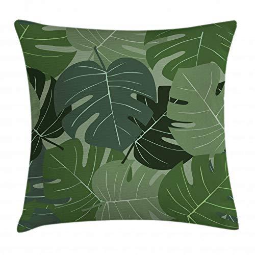 ABAKUHAUS Waldgrün Kissenbezug, Camo Palmblätter, Waschbar mit Reißverschluss Kissenhülle mit Farbfesten Klaren Farben Beidseitiger Druck, 50 x 50 cm, Hellgrün Salbeigrün -