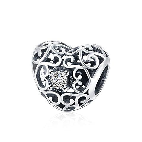hmilydyk Sterling Silber Herz Kristall CZ Charme mit Swarovski Elements Bead Fit Pandora Charms Armbänder
