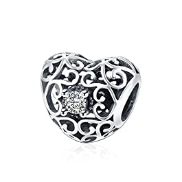 HMILYDYK, charm a forma di cuore in argento sterling con cristalli Swarovski Elements, compatibile con braccialetti Pandora