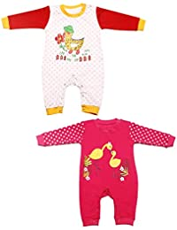 Babeezworld Baby Full Sleeve Diaper Friendly Printed Cotton Romper Sleeping Suit Set for Boy's & Girl's (Combo Pack Of 2)