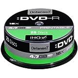 Intenso DVD-R 4,7 GB 16x DVD-Rohlinge bedruckbar kratzfest 25er Spindel