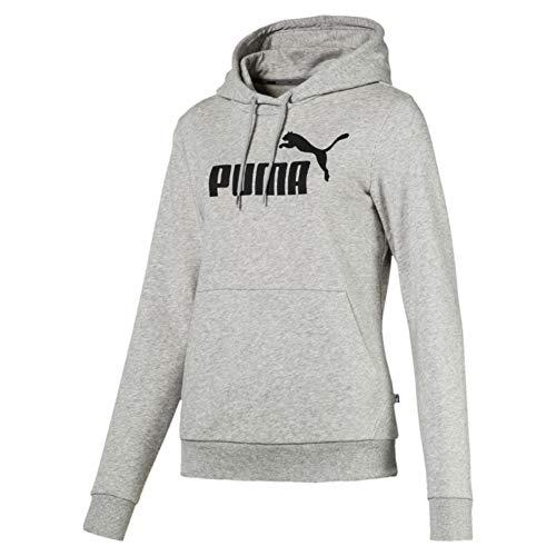 Puma ess logo hoody tr, felpa donna, grigio (light grey heather), m
