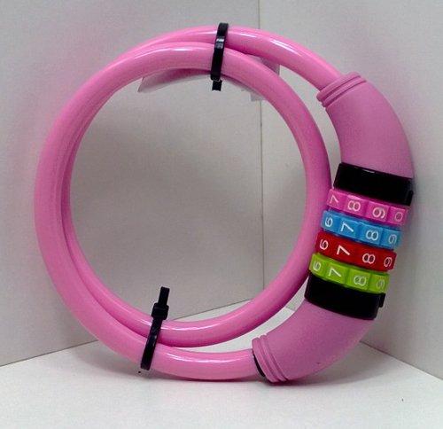 Land-Haus-Shop® Fahrradzahlenschloss 65 cm, Stahlseil ummantelt, Fahrrad Zahlen Schloss (Pink) - 3