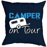 Origineller Kissenbezug mit Motiv - Camper on Tour - für alle Profis in Sachen Camping als Geschenk Idee